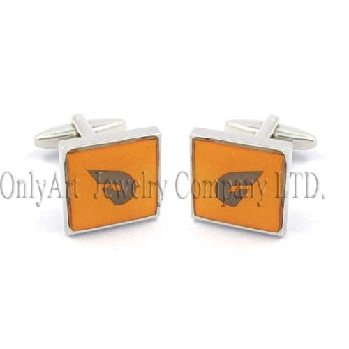 custom orange enamel sterling silver 925 cuff links