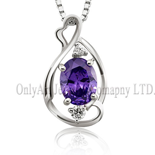 mirror finished rhodium purple crystal silver 925 jewelry