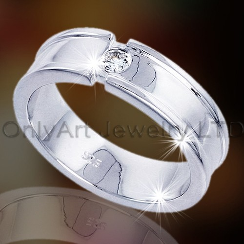 Simple Design Silver Wedding Rings OAR0038