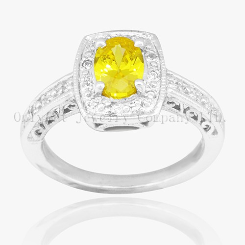 Lucky Yellow Stone On 925 Sterling Silver Ring