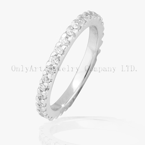 Simple White CZ 925 Sterling Silver Ring